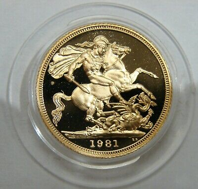 Great Britain - 1981 - Proof Gold Sovereign - In Capsule (AGW 0.2354 oz.)