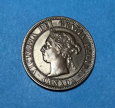 1900 No H Canada Large 1 Cent, Nice Au/Unc