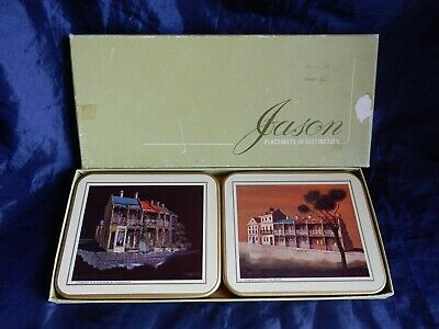 """6 Vintage Jason """"Terraced Houses"""" Coasters Images by Artist Clarrie Cox - Boxed"""
