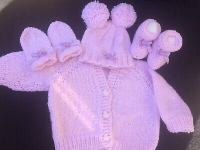 Bn Hand Knitted Baby Girls Set- Age 0-3 Months