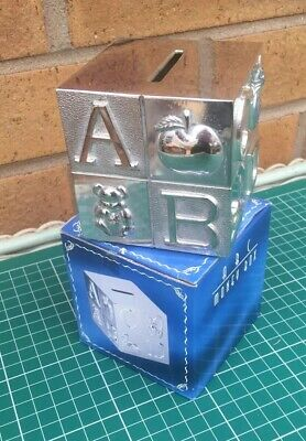 Silver Plate ABC Building Block Money Box Christening Baptism Baby Shower Gift