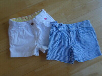 H&M M&S girls 2 pack summer shorts white blue stripe AGE 4 - 5 / 5 YEARS EXCELLE