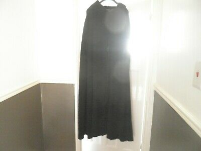 Ladies vintage, floor length, black wool hooded cape