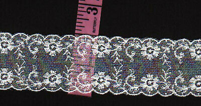 2 inch wide White cotton embroidered floral lace trim 9yds (0652)