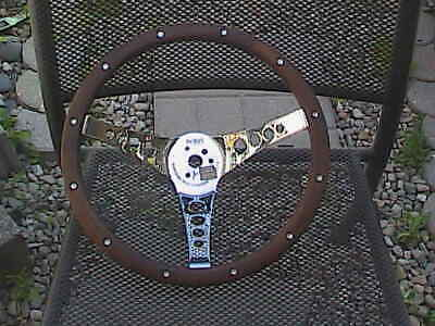 "Vintage Superior Performance Products The ""500"" Wood & Chrome Steering Wheel"