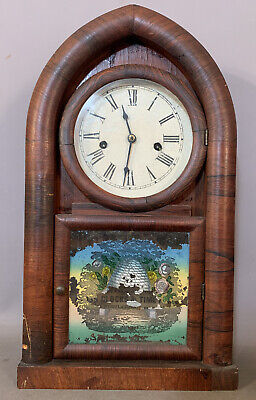 19thC Antique VICTORIAN Era CATHEDRAL Style WATERBURY Old BEEHIVE MANTEL CLOCK