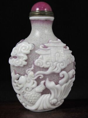 Chinese Two Dragonfish Carved Peking Overlay Glass Snuff Bottle