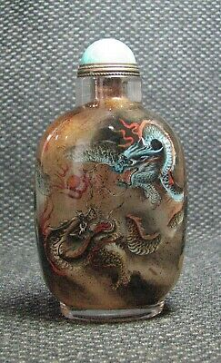 Chinese Glass Delicate Inside-drawing Dragons Snuff Bottle==--