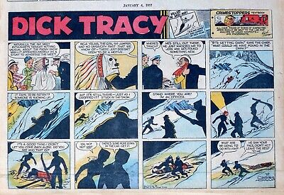 Dick Tracy by Chester Gould - large half-page Sunday color comic - Jan. 6, 1957