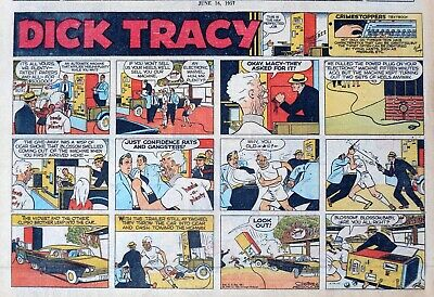 Dick Tracy by Chester Gould - half-page full color Sunday comic - June 16, 1957