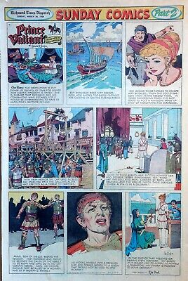 Prince Valiant by Hal Foster - large full page color Sunday comic March 28, 1954