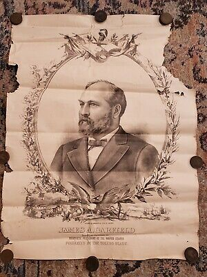 RARE Presidential Campaign Poster 1880 James A. Garfield Litho