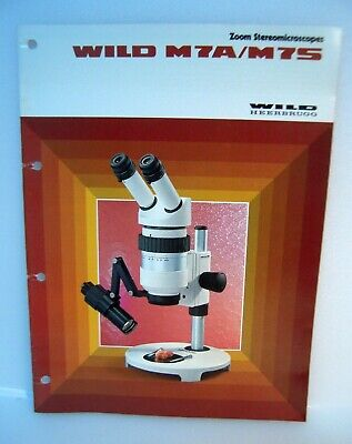 Wild Heerbrugg Zoom Stereomicroscopes Models M7A/M7s Catalog Instruction Guide/E