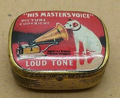 Lovely Vintage Old School HMV His Masters Voice Gramophone Needles In Tin SU1369