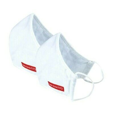 2PCS White Face Mouth Cover Antibacterial Nano Fiber, Cotton 3