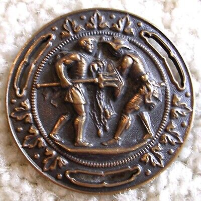"Ex rare Antique French ""GLADIATORS"" pierced repoussee brass button, 1880s/1890s"