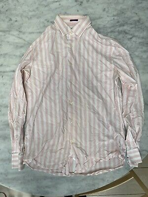 Paul Smith Silk Cotton Stripe Shirt 15.5 39 Mens £220 Made In Italy