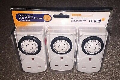 SMJ Electrical MCT3PC Basix 24H Plug in Timer 240V 3 Pack Triple 3000W 3kw