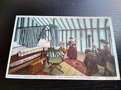 Vintage Wylie Two-Compartment Tent Interior, Yellowstone Park Photo Postcard