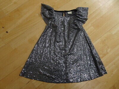 ZARA KIDS girls silver black sequin style dress AGE 6 YEARS EXCELLENT COND