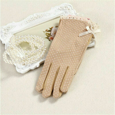 Tan Beige Cotton Womens Short Thin Sun Shade Protective Gloves NEW Polka Dot Bow