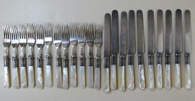 (22) Antique Mother of Pearl Forks and Knives with Sterling Silver Bands