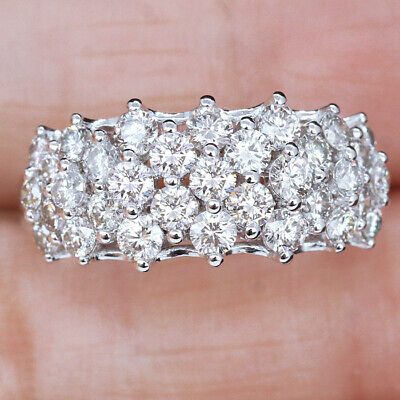 2Ct Natural Diamond 14K White Gold Cluster Ring EFFECT 4Ct RG160