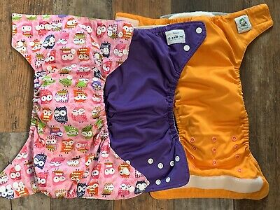 Lot of 3 Baby Girl Cloth Diaper Covers & Inserts