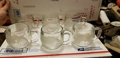 6 Vtg Nestle's Etched Frosted Glass World Globe Coffee Mugs