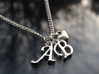 """Personalised Double Initial 16-20"""" Necklace with Silver Plated Letters"""