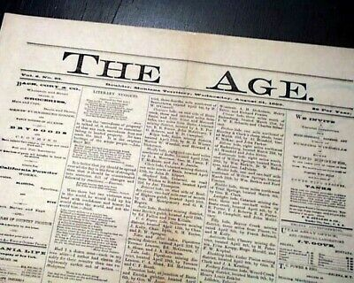 Very Rare BOULDER MT Jefferson County Montana Territory 1889 Old West Newspaper