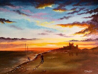 MAL.BURTON ORIGINAL OIL PAINTING. BAMBURGH CASTLE 18 x 14 inch NORTHERN ART  NEW