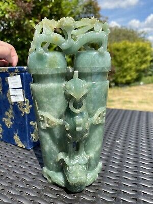 Important Qing Dynasty 19th century Chinese large jadeite vase and cover