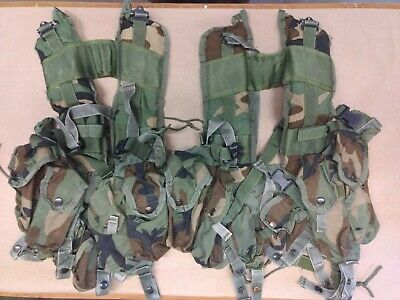 2 Military Surplus Tactical Vest Load-bearing Enhanced Woodland Camo 6 pouches