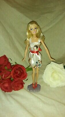 Barbie fashion doll Blonde Satin print dress red ribbon sash and red high heel