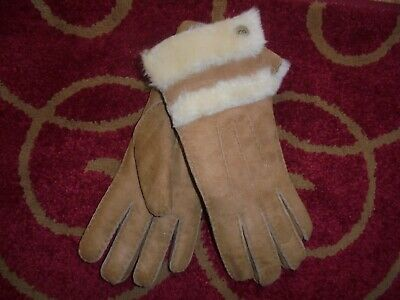 Size M Women UGG Shearling Lined Sheepskin Suede Leather Gloves Chestnut