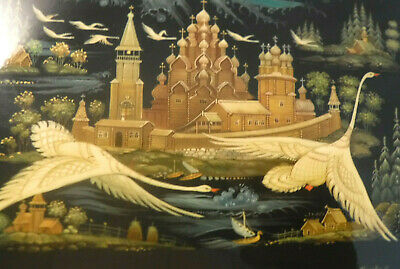 """VINTAGE Russian Lacquer Box Swans Flying North HAND PAINTED SIGNED 6.5"""" Hinged *"""