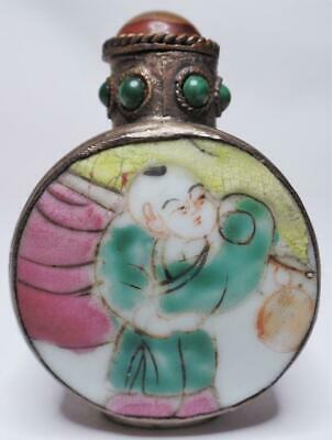 Antique/Vintage Chinese Silver Hand Painted Porcelain Child Figure Snuff Bottle