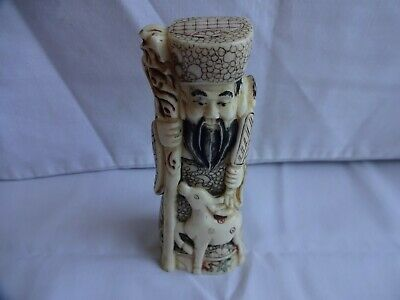 Vintage Bovine Bone Hand Carved Longevity God Chinese Deity Height 12.5 cm