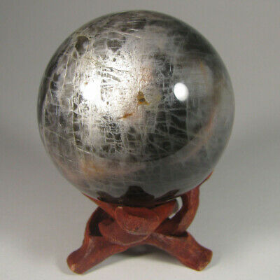 "2.3"" BLACK MOONSTONE Crystal Sphere Ball w/ Stand - Madagascar - 58mm"
