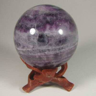 "2.2"" Purple/Green FLUORITE Crystal Sphere Ball w/ Stand - China - 55mm"