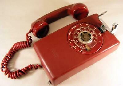 Vintage 1959 Cherry Red Western Electric Rotary Dial Wall Telephone