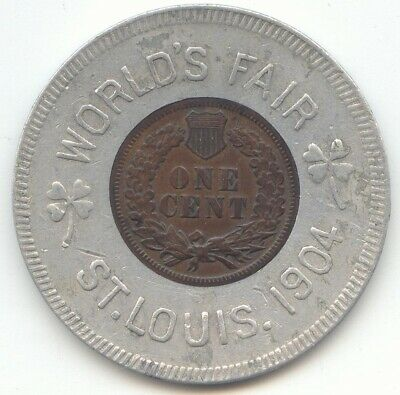1904 Encased Indian Head Cent,Lucky Penny Pocket Piece,1904 St Louis Worlds Fair