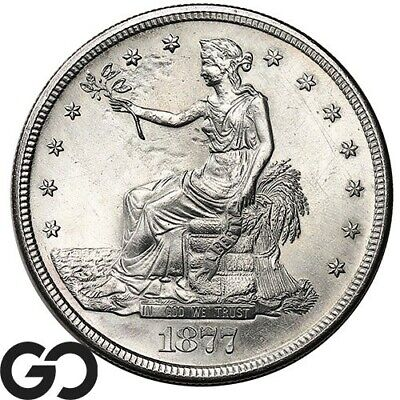 1877-S Trade Dollar, Blast White, Scarce This Nice, Sharp & Lustrous
