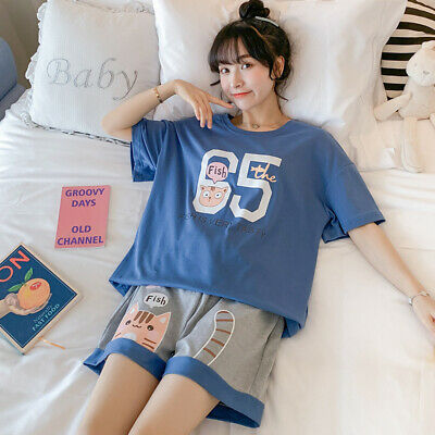 Women Summer Short Pyjamas Cartoon Print Sleepwear Set Short Sleeve Tops Shorts