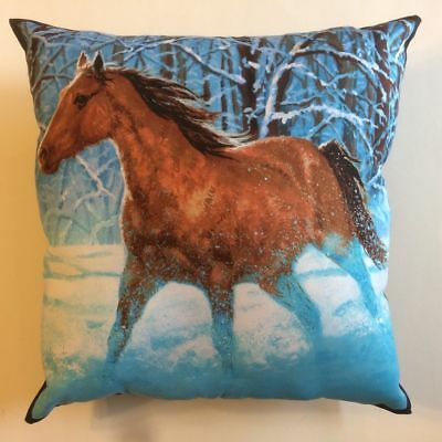 New Beautiful Brown & Black Horse Running In Snow Complete 15X15 Throw Pillow #5