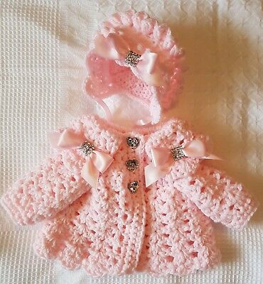 Romany Hand Crochet Bonnet And Cardigan Babies 6//12 With bling bows