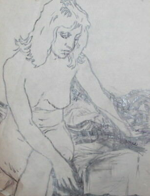 Vintage pencil drawing nude woman portrait
