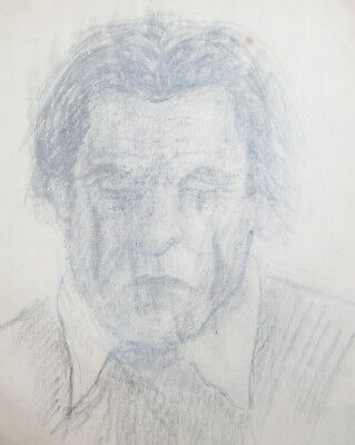 Vintage man portrait pencil drawing