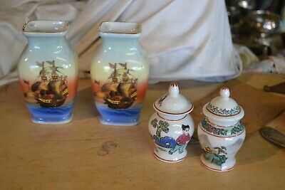 2 Pairs of Small Oriental Pots 1 Chinese & 1 Japanese